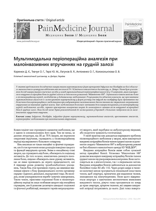 Multimodal perioperative analgesia with minimally invasive interventions on the mammary gland