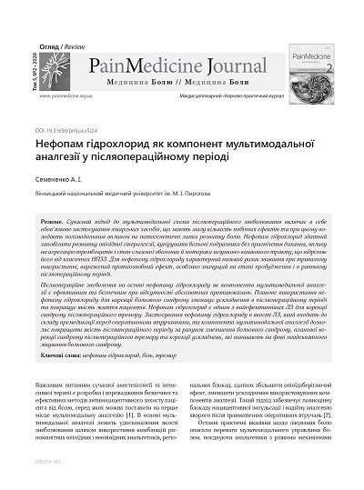 Нефопам гідрохлорид як компонент мультимодальної аналгезії у післяопераційному періоді