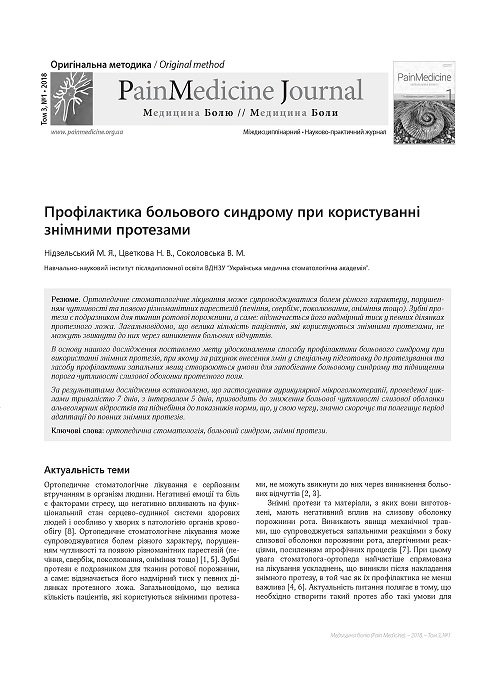 Prophylaxis of the pain of the syndrome when using removable dentures